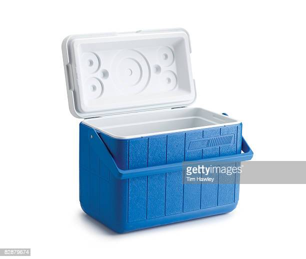 open blue cooler on white background - esky stock photos and pictures