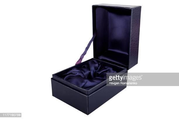 open blue jewelry box on white background - opening event bildbanksfoton och bilder