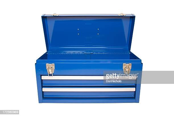 open blue toolbox - toolbox stock photos and pictures