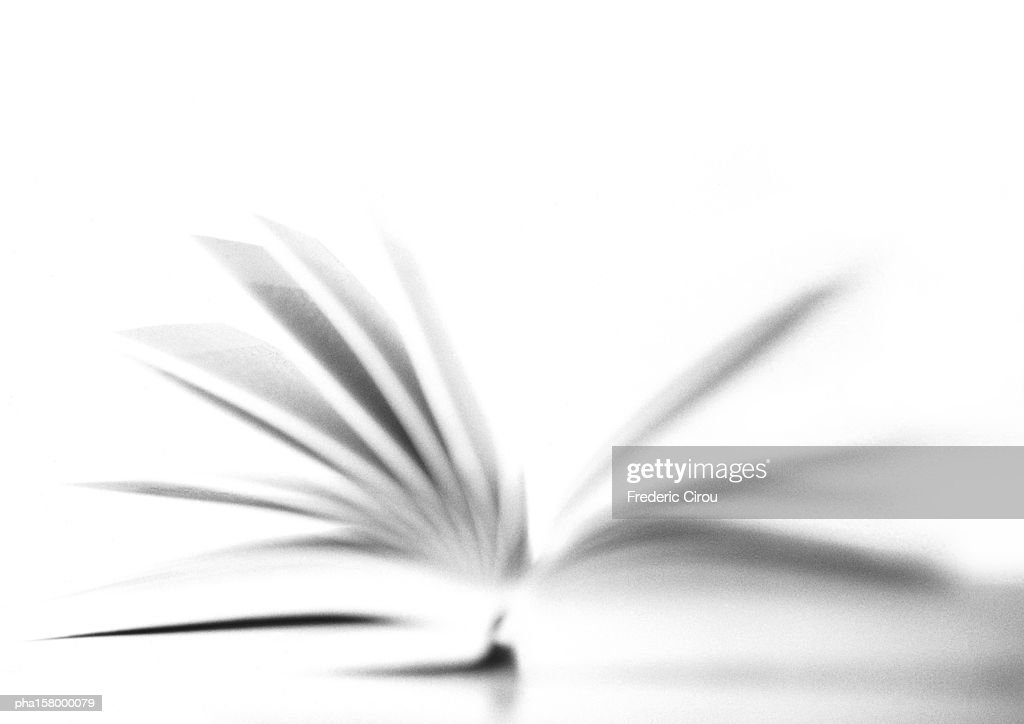 Open book, blurred, b&w. : Stockfoto