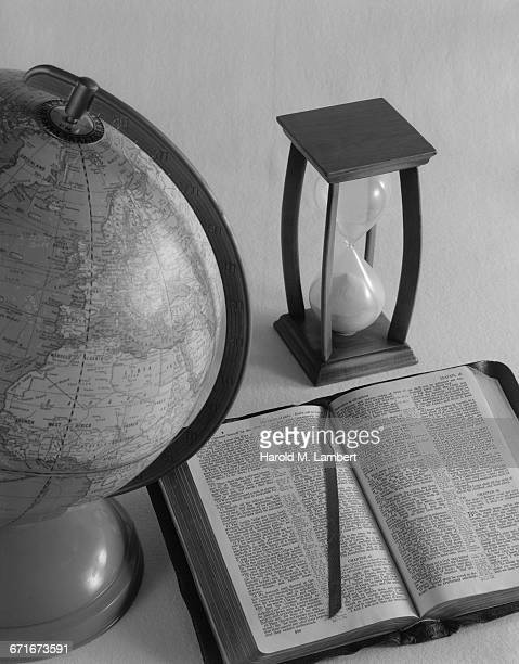' Open Book, Globe And Hourglass'