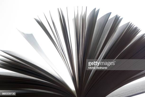 Open book, pages fluttering. Black and white