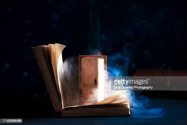 open book with a shining door to magical worlds. the excitement of reading concept on a dark background with copy space - magic doors stock pictures, royalty-free photos & images
