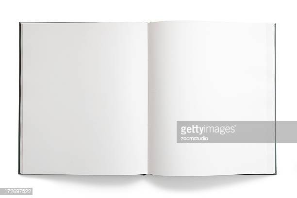 Open book with blank, empty pages on white background