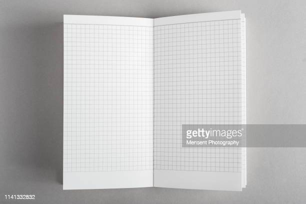 open book with blank pages on gray background - blank magazine ad stock pictures, royalty-free photos & images