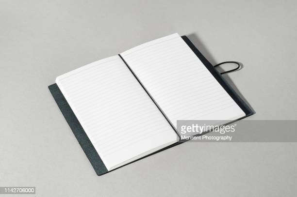 Open book with blank pages on gray background