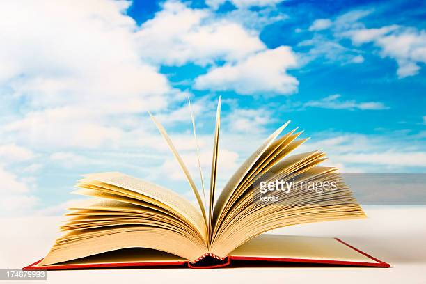 Open book with blue sky and cloud in background