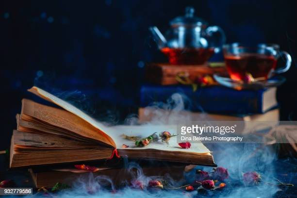 Open book with mysterious smoke and rose petals. Teacup out of focus on a dark background. Spellbook and modern magic concept.