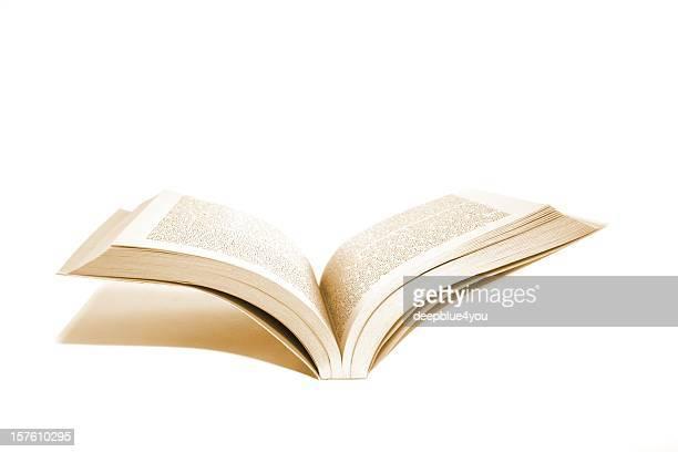 Offene Buch mit Schatten, isoliert auf weiss