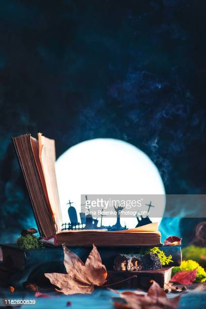 open book with silhouettes of graveyard and zombie hands with full moon. halloween still life with magical book, creative and funny horror concept - monster fictional character stock pictures, royalty-free photos & images