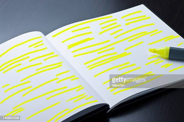 Open book with yellow highlighting