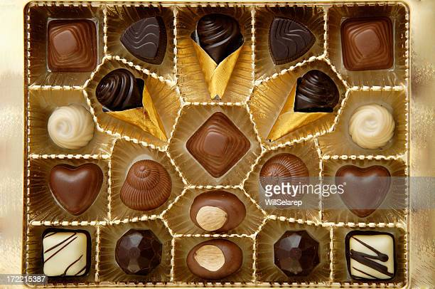 open box with chocolates - box of chocolate stock pictures, royalty-free photos & images