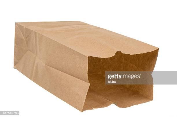 Ouvert pour le déjeuner de sac de papier Brun sur fond blanc