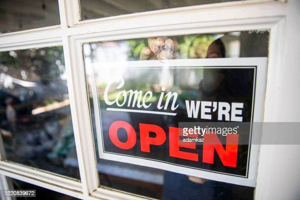 open business sign - adamkaz stock pictures, royalty-free photos & images