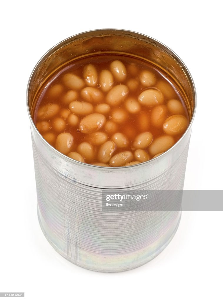 Open can of Baked Beans on a white background : Stock Photo
