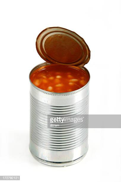 Open can of beans on white background