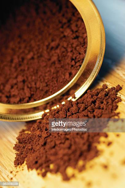 Open can of instant coffee