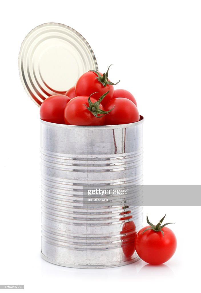 Open can with fresh tomatoes inside : Stock Photo