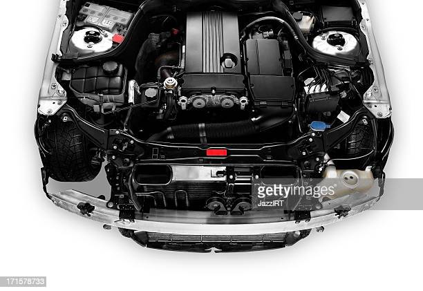 open car bonnet showing engine - hybrid car stock photos and pictures