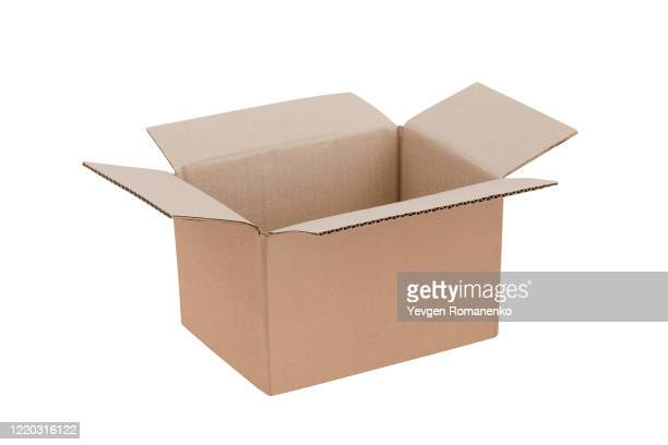 open cardboard box isolated on white background - carton stock pictures, royalty-free photos & images