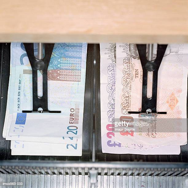 open cash register - pound symbol stock photos and pictures