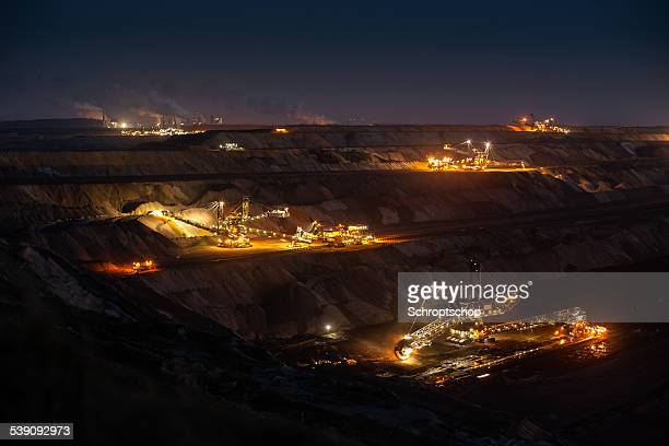 open cast mining - coal mining stock photos and pictures