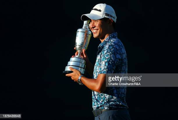 Open Champion, Collin Morikawa of United States poses with the Claret Jug on the 18th hole during Day Four of The 149th Open at Royal St George's...