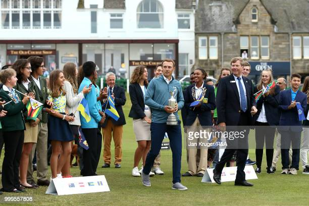 Players arrive during the Junior Open Championship opening ceremony at The Old Course on July 15 2018 in St Andrews Scotland