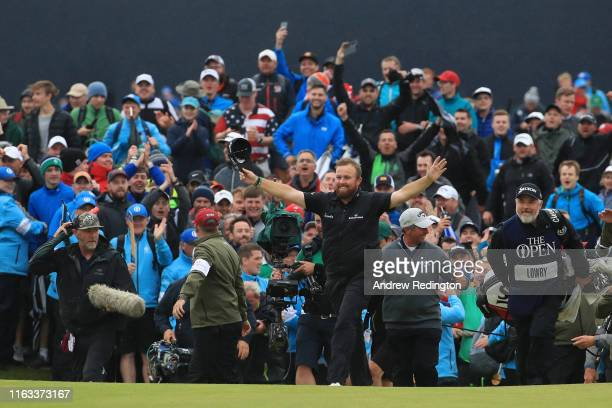 Open Champion Shane Lowry of Ireland celebrates on the 18th green during the final round of the 148th Open Championship held on the Dunluce Links at...