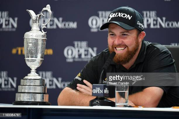 Open Champion Shane Lowry of Ireland talks in a press conference after the final round of the 148th Open Championship held on the Dunluce Links at...