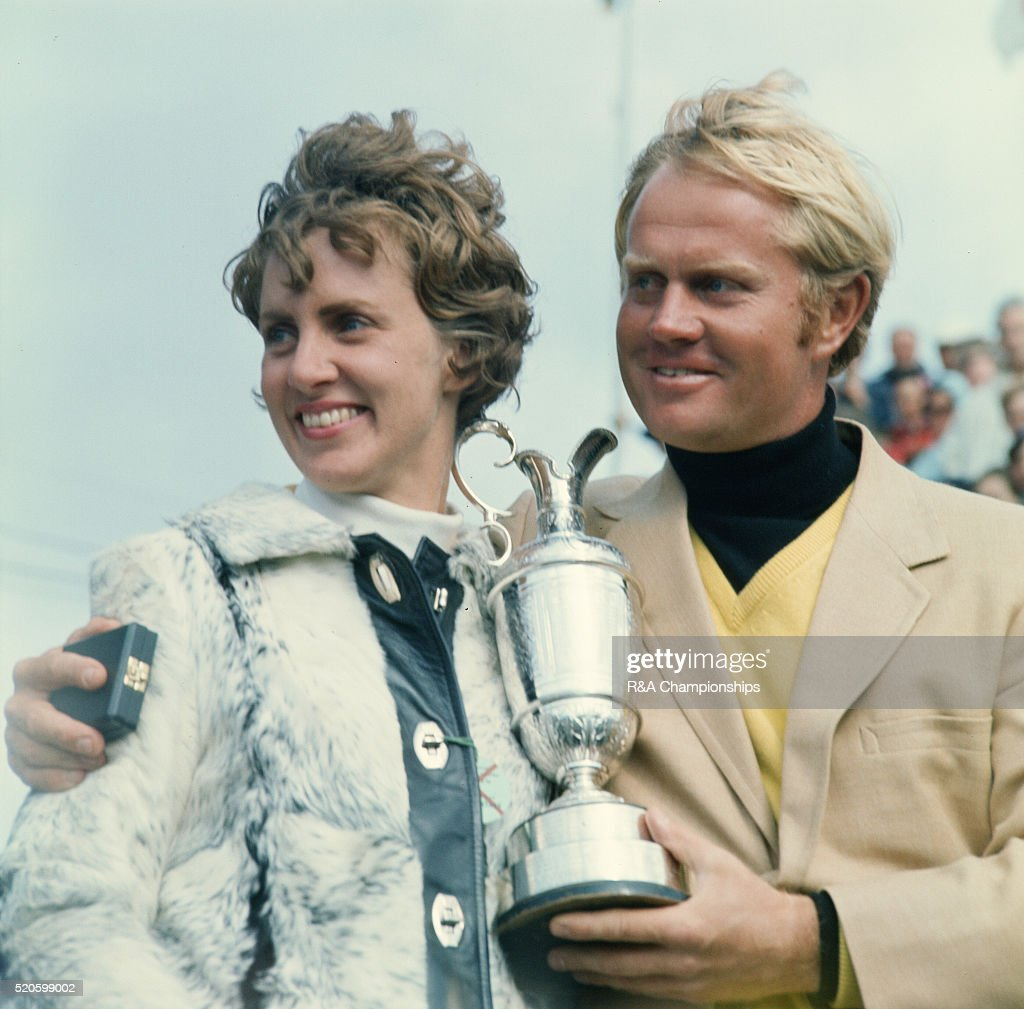 Open Championship 1970 at Old Course at St Andrews in St Andrews, Scotland, held 8th - 12th July 1970. Pictured, Jack Nicklaus and his wife Barbara with the trophy. 12th July 1970.