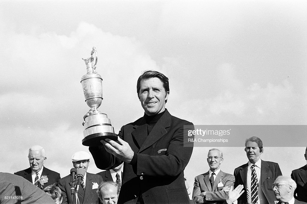 Open Championship 1974. Royal Lytham & St Annes Golf Club in Lancashire, England, held 10th - 13th July 1974. Pictured, Presentation Ceremony, Gary Player, Open Champion, receives claret jug, 13th July 1974.