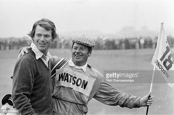 Open Championship 1975 Carnoustie Golf Links Scotland held 9th 13th July 1975 Pictured Tom Watson and caddie 13th July 1975