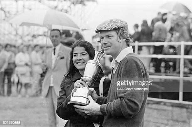 Open Championship 1975 Carnoustie Golf Links Scotland held 9th 13th July 1975 Pictured Presentation Ceremony Tom Watson and wife Linda and claret jug...