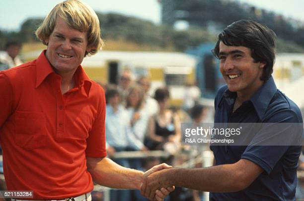 Open Championship 1976 at Royal Birkdale Golf Club in Southport England held 7th 10th July 1976 Pictured 1st tee final round Johnny Miller and Seve...