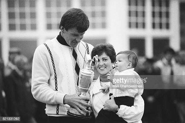 Open Championship 1987 Muirfield Golf Links Gullane Scotland held 16th 19th July 1987 Pictured Nick Faldo Open Champion with wife Gill and baby...
