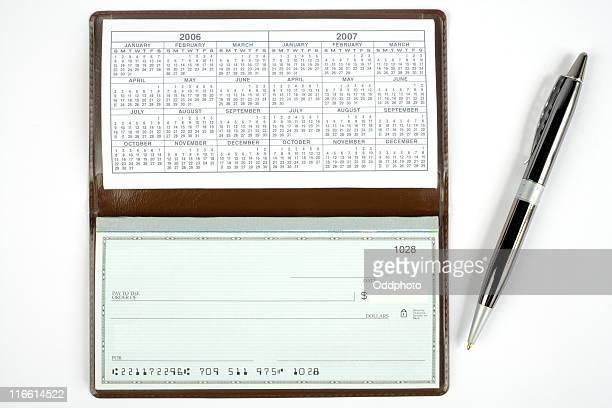 Open Check book with pen