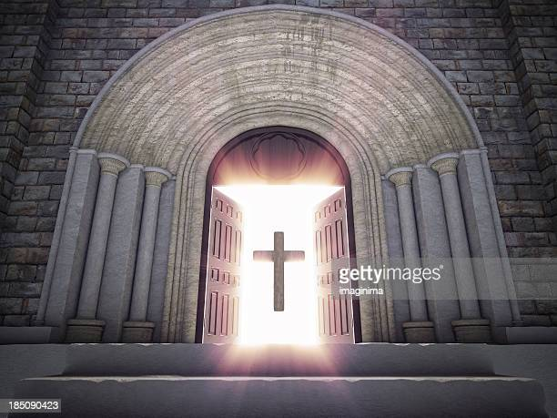 open church doors with cross - place of worship stock pictures, royalty-free photos & images