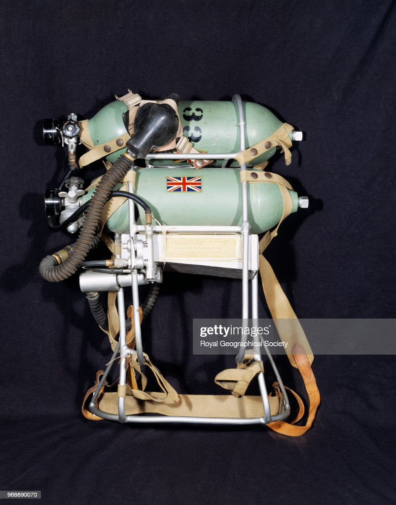 Open circuit oxygen set used during the ascent of Mount Everest in 1953, This oxygen set was used by Sir Edmund Hillary and Tenzing Norgay during their successful summit attempt in 1953, Nepal, 1953. Mount Everest Expedition 1953.