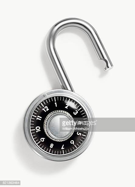 open combination lock - locking stock pictures, royalty-free photos & images