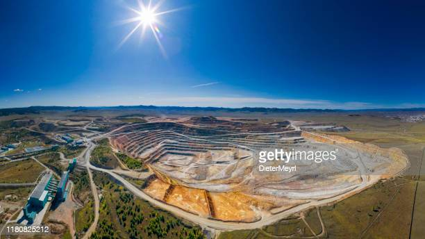 open cut copper mine in mongolia, erdenetiin ovoo mine - aerial view - independent mongolia stock pictures, royalty-free photos & images