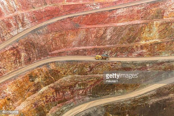 open cut gold mine - gold mining stock photos and pictures