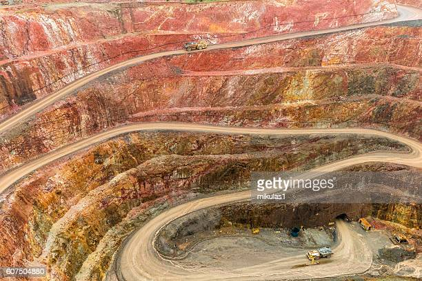 open cut gold mine - mining stock photos and pictures