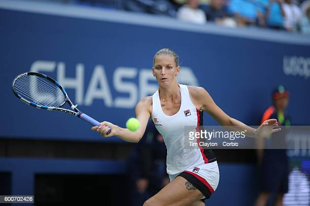S Open Day 10 Karolina Pliskova of the Czech Republic in action against Ana Konjuh of Croatia in the Women's Singles Quarterfinal match on Arthur...