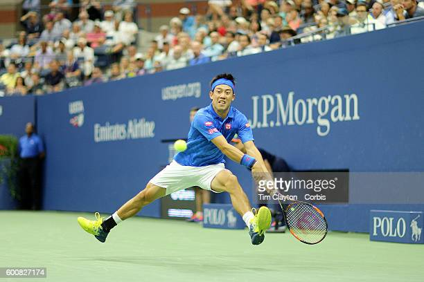 S Open Day 10 Kei Nishikori of Japan in action against Andy Murray of Great Britain in the Men's Singles Quarterfinal match on Arthur Ashe Stadium on...