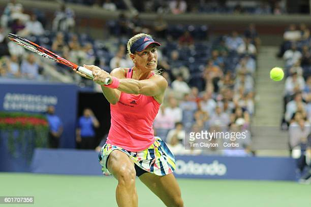 S Open Day 11 Angelique Kerber of Germany in action against Caroline Wozniacki of Denmark in the Women's Singles Semifinal match on Arthur Ashe...
