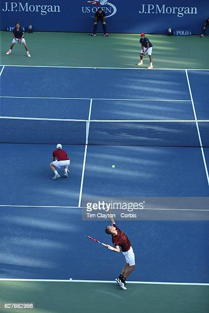 Open - Day 11 Jamie Murray of United Kingdom and Bruno Soares of Brazil in action against Pablo Carreno Busta of Spain and Guillermo Garcia-Lopez of...