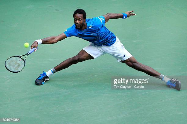 S Open Day 12 Gael Monfils of France in action against Novak Djokovic of Serbia in the Menu2019s Singles Semifinal match on Arthur Ashe Stadium on...
