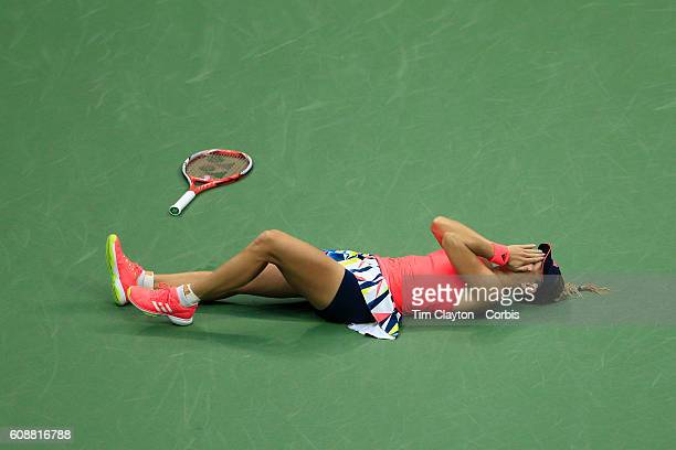 S Open Day 13 Angelique Kerber of Germany falls to the ground in celebration after winning the Women's Singles Final against Karolina Pliskova of the...