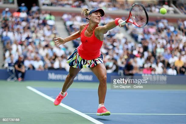 S Open Day 13 Angelique Kerber of Germany in action against Karolina Pliskova of the Czech Republic in the Women's Singles Final on Arthur Ashe...